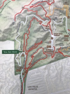 A map of the various trails in Griffith Park, a lovely hiking and horse-riding oasis in the heart of LA. The Hollywood sign sits in this park.
